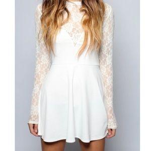 For Love And Lemons Dresses - For Love and Lemons white long sleeve lace dress